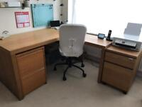 IKEA Malm desk and pedestal Oak