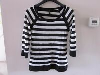 Top Shop Black and White Stripe Long Sleeve Top Size 8
