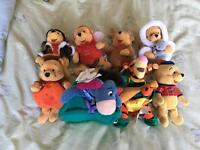 Various Winnie the Pooh beanie soft toys