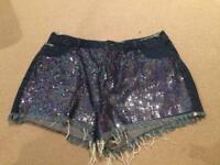 Sparkly Sequin Jean Shorts Size 14
