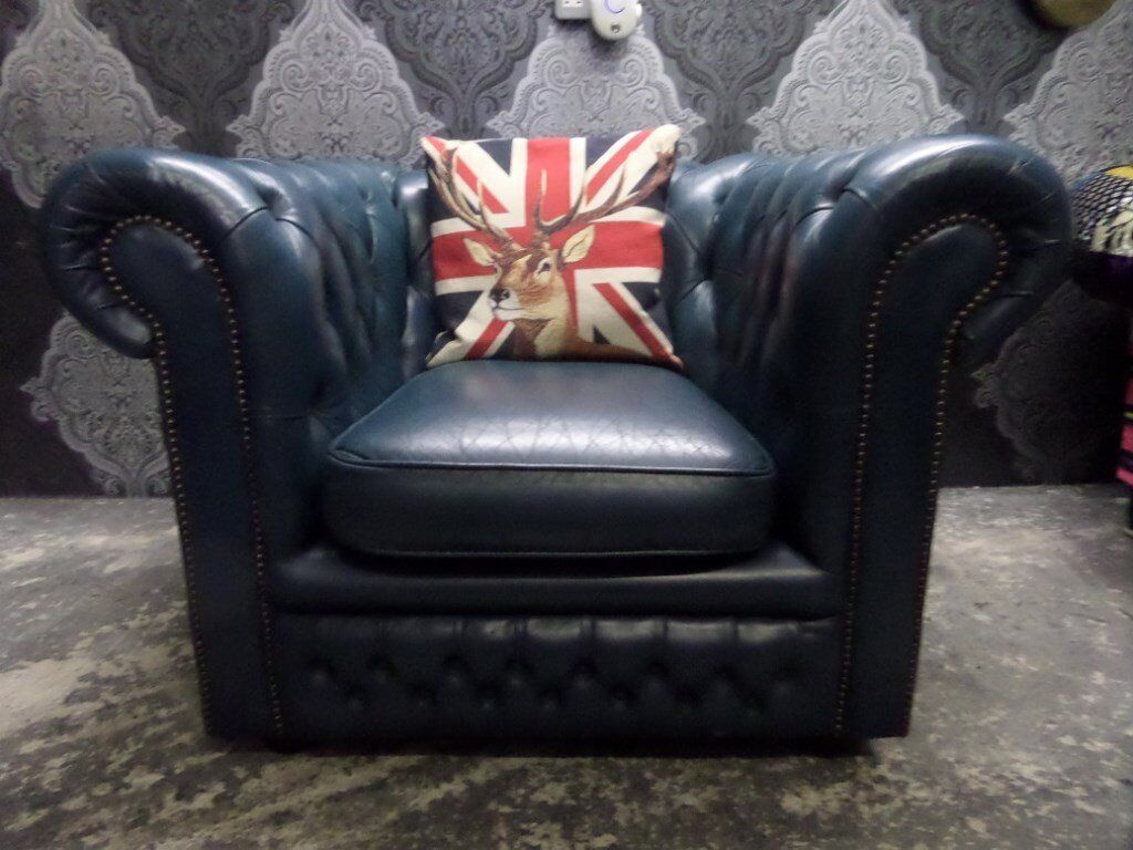 Stunning Chesterfield Low Back Club Chair in Blue Leather - UK Delivery
