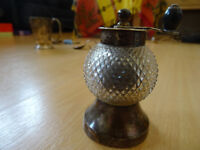 Antique Victorian Silver and Cut Glass Salt and Pepper Mill (1895)
