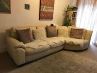 Corner sofa , ivory genuine leather