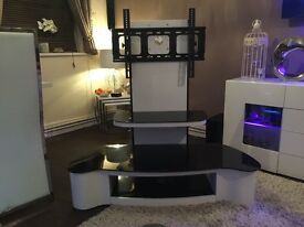 Designer White Wood Grain & Black Glass TV Stand