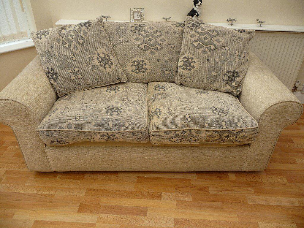 Cream 2 Seater Chenille Sofa Bed