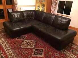 Black L shaped leather sofa