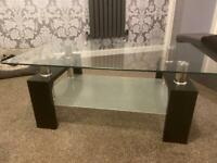 Glass and Chrome living room coffee table
