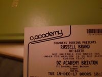 RUSSELL BRAND TICKETS BRIXTON ACADEMY LONDON 1, 2, 3 or 4 tickets IN HAND! Tuesday 19 December O2 02