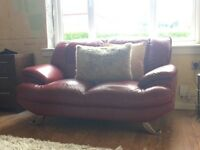 2 sofas and 1 chair real leather all over £150 or nearest offer