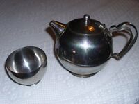 Teapot and sugar bowl, stainless steel
