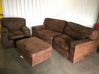2 seater curved sofa with chair and footstool - very good condition // free delivery