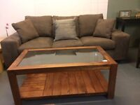 Coffee Table Teak Style Solid Wood with Glass Inlay ex display unused