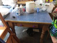 Dining table with tiled top