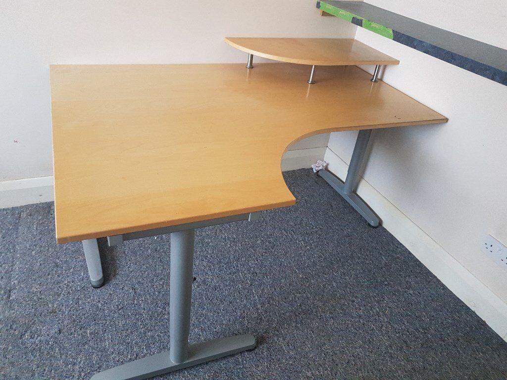Large Home Office Corner Desk Computer Shelf Light Beech Wood Effect Grey Metal