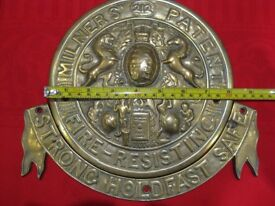 Brass Plaque From A Milner Safe circa 1900. The banner is separate which is a rarity.