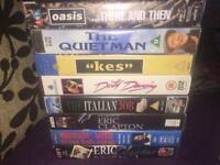 VHS Video Job Lot - 1 Oasis, 2 Eric Clapton, Kes, The Italian Job, The Quiet Man
