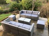 Large rattan garden furniture set