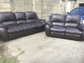 FOR SALE 2 & 3 SEATER BROWN LEATHER SOFAS