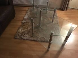 Glass coffee table and tv uniye