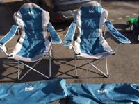 2 Blue Royal Adjustable President Camping Chairs with bags.