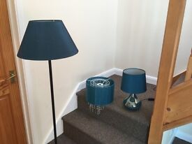 Floor, table and ceiling lights. Set of 3 items. Green teal colour