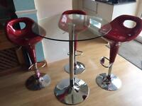 Breakfast bar stools and table