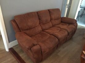 Brown leather/suede effect reclining three seater sofa