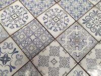 VINTAGE EFFECT 15X15 BLUE DESIGN WALL TILES LOT OF 5M2
