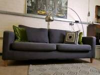 John Lewis Bailey 3 seater sofa in charcoal grey brushed cotton RRP £1500