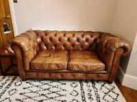 John Lewis Halo Earle Chesterfield 2 Seater Leather Sofa - Antique Whisky