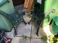 Pair of cast iron bench/chair ends