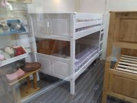 Single Solid Pine Bunk bed Frame, Corona Style, White pine finish, includes mattresses - £200