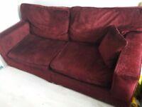 Beautiful 3 seater sofa velvet feel deep burgundy