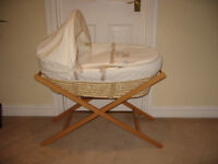 Moses basket, stand, matresses and Elasticated sheets