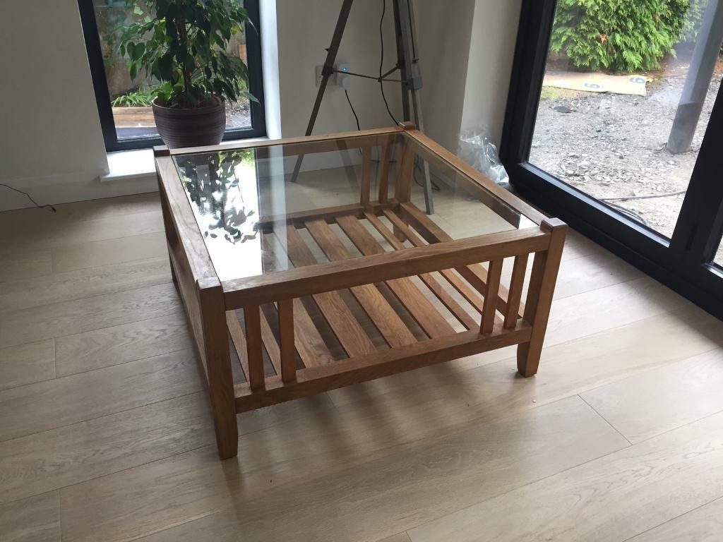 Laura Ashley Oak Coffee Table With Glass Top In Cults Aberdeen Gumtree