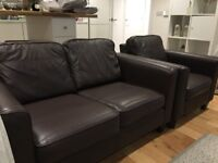 Brown leather sofa from John Lewis