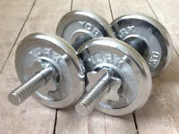 York spinlock premium chrome dumbell weights for home gym fitness