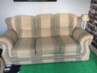 3 piece suite in cream and green sofa and 2 arm chairs