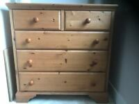 Solid pine chest and matching bedside tables