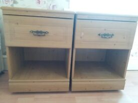 Pair of bedside tables natural wood