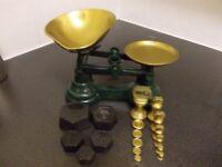 Vintage Green Cast Iron Librasco Kitchen Scales