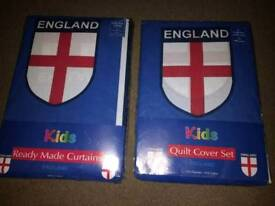 England curtains and single duvet cover set new