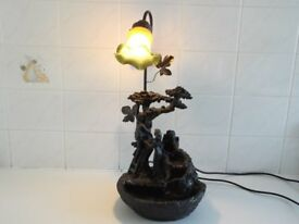 Water feature table lamp very unusual, in lovely condition