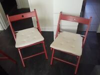 2x Ikea Terje Folding Chairs + Justina Chair Pads