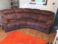 Five-seater, brown corner settee & cuddle swivel chair