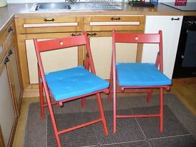 CHAIRS FOLDING WOOD (IKEA) WITH CUSHIONS (PRICE IS FOR THE 2)