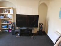 Sharp 60 inch full HD Smart 3D tv, two corner sofas, Big fridge freezer and tv stand