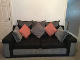 REDUCED FUTHER!!!!!! Black and Grey 3 Seater,Swivel Chair & Black Glass Tv Stand