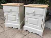 Pair of Solid Pine Painted Bedside Tables