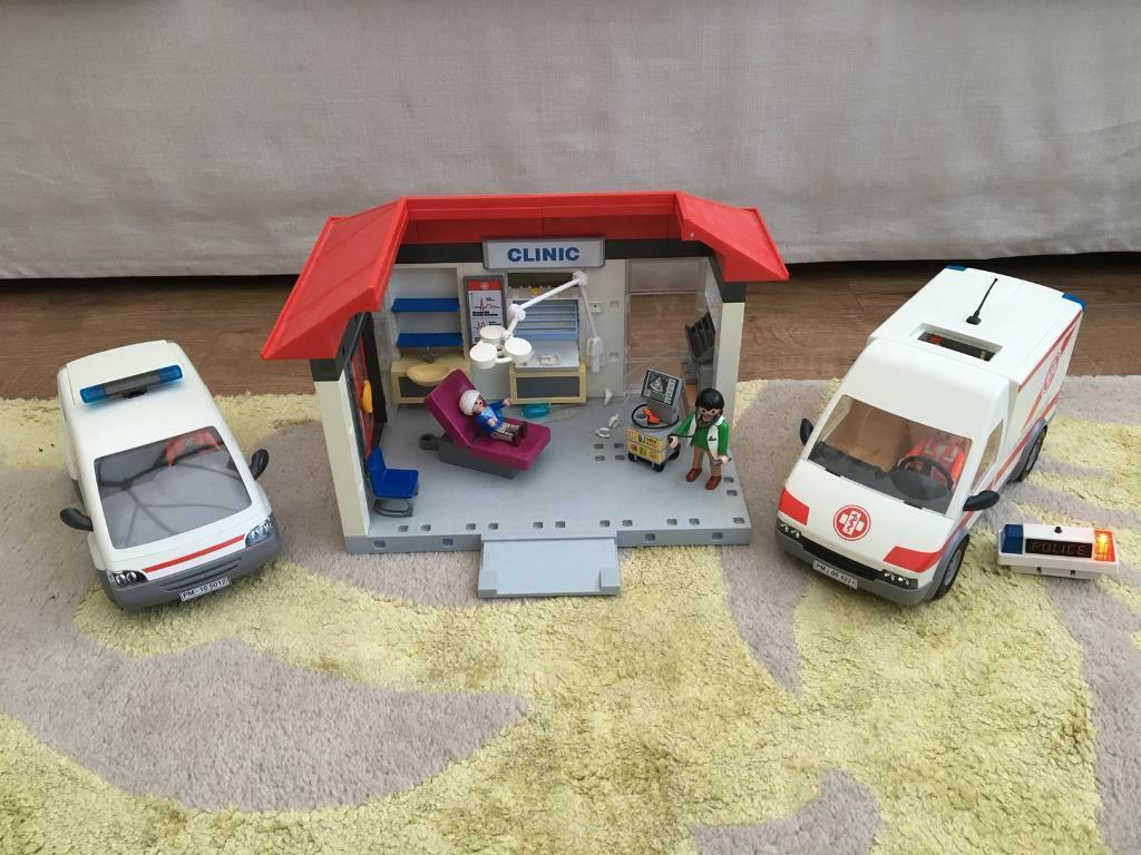 Playmobil doctors hospital clinic with ambulance x2
